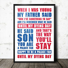 Crystal Palace football song lyrics poster chant