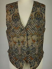 Halsey Womens Beaded Mixed Pattern Hippie Boho Waistcoat Vest Size Medium