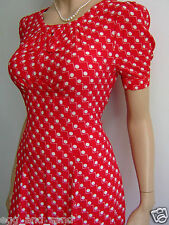 Size UK 8-10 vtg 40s WW2 style red polka dot fit and flare tea dress, back ties
