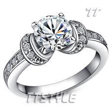 Elegant TTstyle Luxury 18K White Gold GP Engagement Wedding Ring Size 8