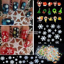 12 Sheet Christmas Snowflake Tree 3D Nail Art Sticker Decal Tips Decoration B5UT
