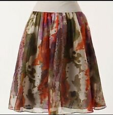 Edme & Esyllte 1952 Silk Skirt sz 8 Layered Pleated Floral Anthropologie