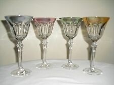 4 Iredescent MULTICOLOR RIM Crystal 6 Panel WINE GOBLETS  Blue Yellow Green Pink