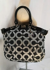 Authentic Coach 18635 Madison Signature Op Art Lurex Linsey Black & Silver Tote