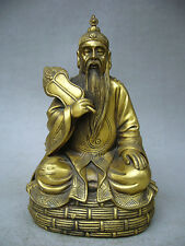 """10""""Chinese Folk Culture Collection Brass Taoism myth Too old gentleman on statue"""