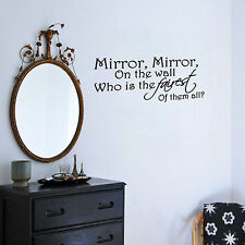 Mirror Mirror on the Wall Vinyl Decal Quote Art Sticker Girls Room Decor Mural