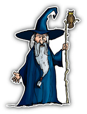 "Wizard Staff Cartoon Car Bumper Sticker Decal 3"" x 5"""