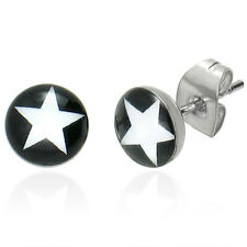 Urban Male Pair Of Mens Stainless Steel Star Stud Earrings 7mm