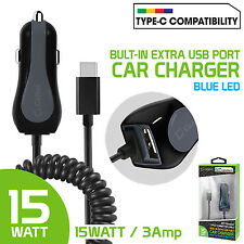 15 Watt 3 Amp Extra USB Port Car Charger + USB Type-C Connector Cable for LG V20