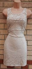RIVER ISLAND VTG  IVORY CREAM FLORAL LACE BODYCON PARTY TUBE PENCIL DRESS 10 S