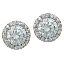 925 Sterling Silver Round Daisy Flower Clear CZ Crystal Earring Stud Post