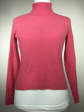 KENAR Women's Small 100% Cashmere Pink Ribbed Turtleneck Sweater Top