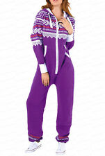 New Ladies Aztec Print Hooded Zip Up Onesie All In One Jumpsuit [SMALL to 5XL]
