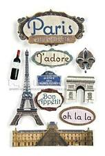 PAPER HOUSE PARIS FRANCE TRAVEL VACATION DIMENSIONAL 3D SCRAPBOOK STICKERS
