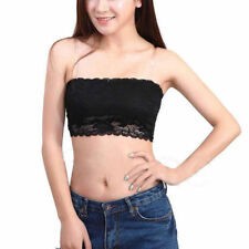 Women Ladies Sexy Strapless Lace Tube Top Bandeau Bra Chest Wrap Black