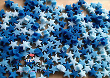 200 Edible Tiny Stars Sugar Cupcake Toppers Sprinkles In Blue Mix