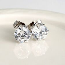 18k White Gold Filled Women's/Mens Silver Earrings 8mm round CZ Fashion earstud