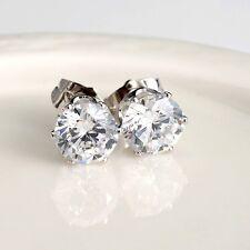 18k White Gold Filled Women's/Mens Silver Earrings 8mm round CZ Fashion earstud