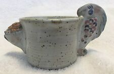Fish and Walrus Unusual Art Pottery Mug or Cup Initialed CLM
