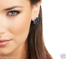 Bold Oval Blue Drusy Quartz Omega Back Stud Earrings Sterling Silver QVC J269025