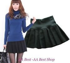 SOLID SCHOOL GIRL PLEATED MINI SKIRT BLACK- FREE SIZE