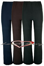WOMEMS NURSE WORK CARER STRETCH ELASTICATED BOOTLEG TROUSERS SIZES 8-26 3 COLORS