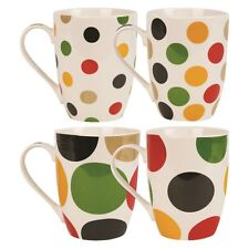 Set of 4 Large Tea Coffee Latte Stoneware Polka Dot Spotted Colours Mugs Cups