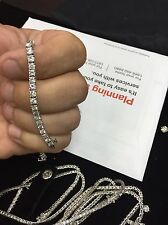 4.00 CT BRILLIANT ROUND CUT NATURAL DIAMOND TENNIS BRACELET 14K WHITE GOLD