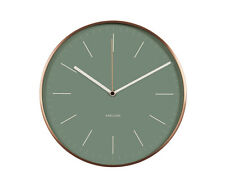 KARLSSON MINIMAL WALL CLOCK COPPER SURROUND AND Green FACE