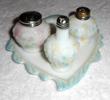 Vintage Consolidated Cosmos EAPG Milk Glass Condiment Set Salt Pepper Shakers