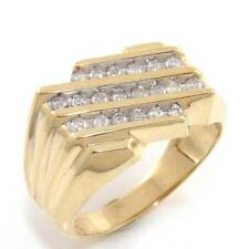 Solid 10K Yellow Gold Natural Diamond Men's Pinky Ring Size 10