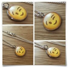 Emoji face Wink eyes smile Charm pendant necklace txt geek