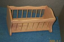 AMERICAN GIRL DOLL CRADLE WITH CRIB SIDES STAINED PINE WOOD light honey brown