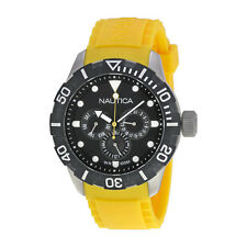 Nautica NSR 101 Black Dial Yellow Resin Strap Mens Quartz Watch N13644G