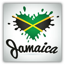 Jamaica Flag Heart Blot Label Car Bumper Sticker Decal 5'' x 5''