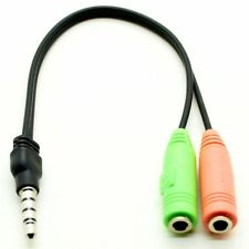 PC HEADSET TO SMARTPHONE ADAPTER DUAL 3.5MM FEMALE TO 3.5MM MALE SPLITTER CABLE