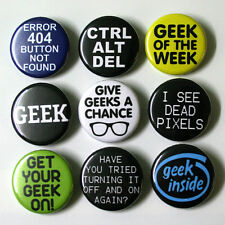 Computer IT Geek Nerd Badges Buttons Pins x 9 - Size 32mm