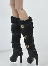 Doll Black Shoes Boots for Fashion Royalty FR2 Poppy Parker, DG,Momoko 26*8 MM