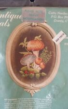 "VTG CATHY NEEDLECRAFT ANTIQUE OVALS ""MUSHROOMS"" #669 EMBROIDERY KIT"