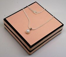 18 ' white real freshwater pearl pendant necklace, silver chain in pink gift box