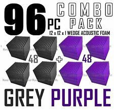 The BIG DEAL ComBo 96 pack GREY PURPLE Acoustic Wedge Sound Studio Foam 12x12x1