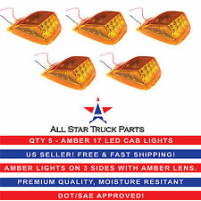 5x Amber Lens 17 LED  CAB Roof Running Top Clearance Light Assembly for Kenworth