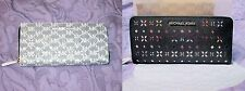 MICHAEL KORS Black SAFFIANO Perforated LEATHER Jet Set CONTINENTAL Zip Wallet