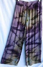 TIENDA HO~PLUM Tie-dye~ARTSY~Wide leg Crinkle Rayon Pants~NWT~FREE/OS (M L 1X?)