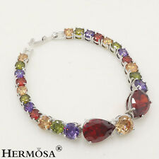 Honorable Garnet Morganite Amethyst Peridot Sterling Silver AAA Bracelet 6.5""