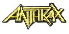 ANTHRAX yellow on black logo EMBROIDERED IRON-ON PATCH **FREE SHIPPING** 4.25""