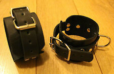 Leather-cuffs for ankle-Bdsm-bondage--fetish-play-Handmade-Cuffs--Black-New