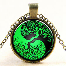 Vintage Tai Chi Tree Cabochon Photo Bronze Glass Chain Pendant Necklace #Y166