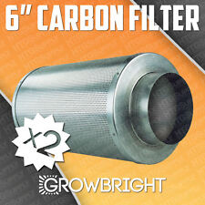 "2 PC 6"" CARBON AIR FILTER SCRUBBER ODOR CONTROL INLINE Activated Hydroponic inch"