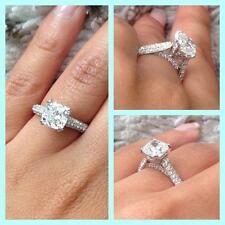 3.60 Ct Cushion Cut Solo Diamond  Engagement Ring Round Pave E,SI1 GIA Platinum